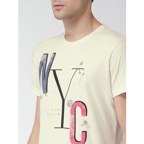 Tommy Hilfiger Men Off-White Printed Round Neck T-shirt