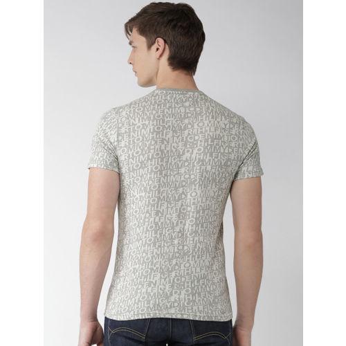 Tommy Hilfiger Men Grey & White Patterned T-shirt
