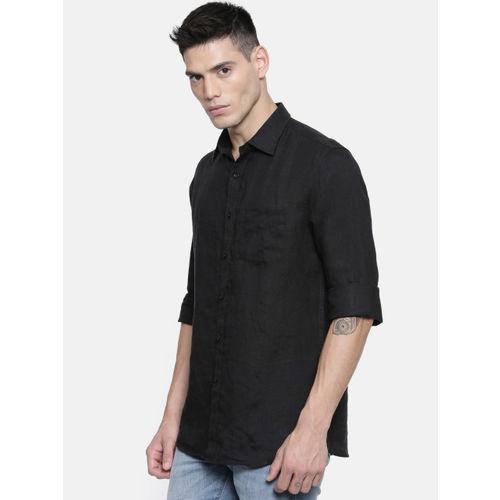 Allen Solly Men Black Linen Slim Fit Solid Casual Shirt
