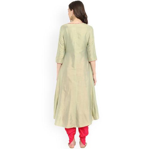 Abhishti Green Art Silk Solid A-Line Kurta