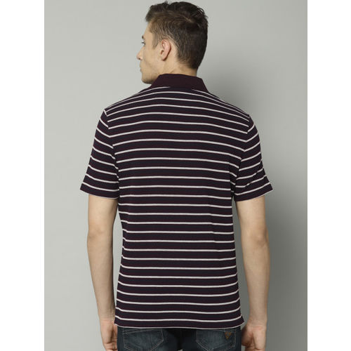 Marks & Spencer Men Purple & White Striped Polo Collar T-shirt