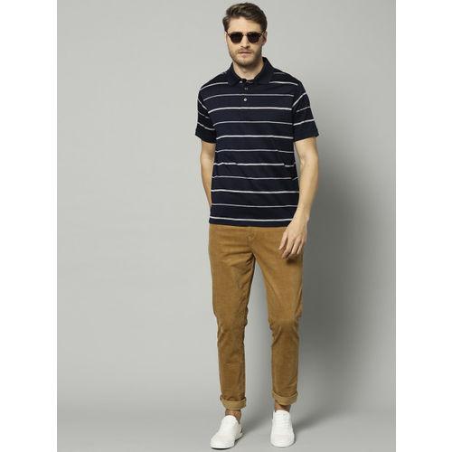 Marks & Spencer Men Navy Blue & White Striped Polo Collar T-shirt