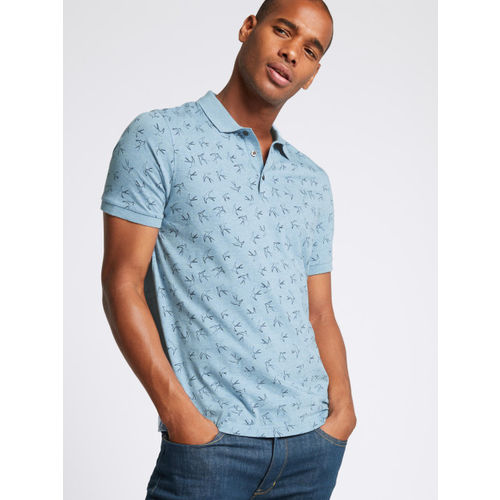 Marks & Spencer Men Blue Printed Polo Collar T-shirt
