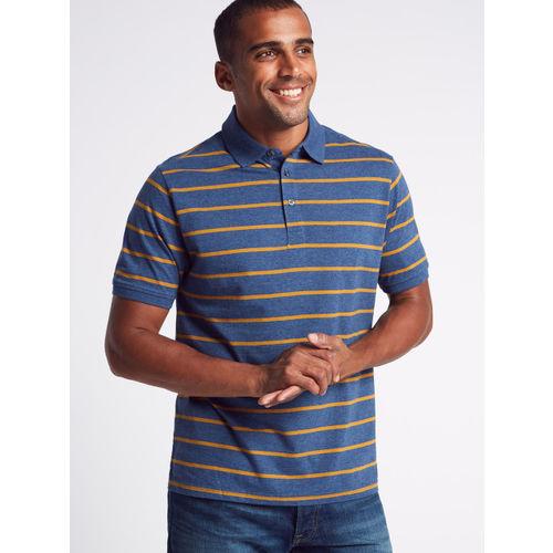 Marks & Spencer Men Navy Blue & Mustard Yellow Striped Polo T-shirt