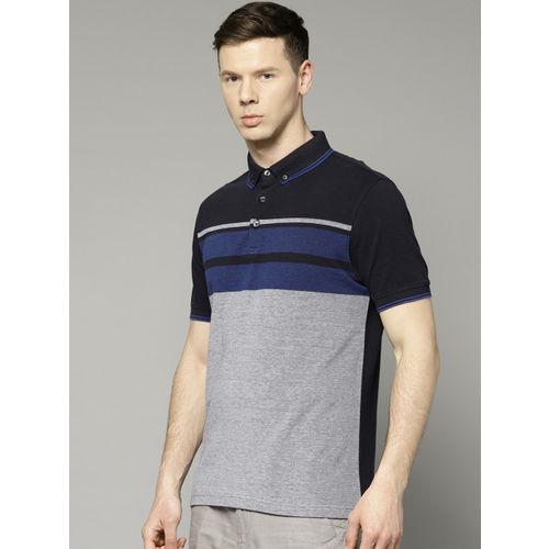 Marks & Spencer Men Navy & Grey Melange Striped Polo Collar T-shirt