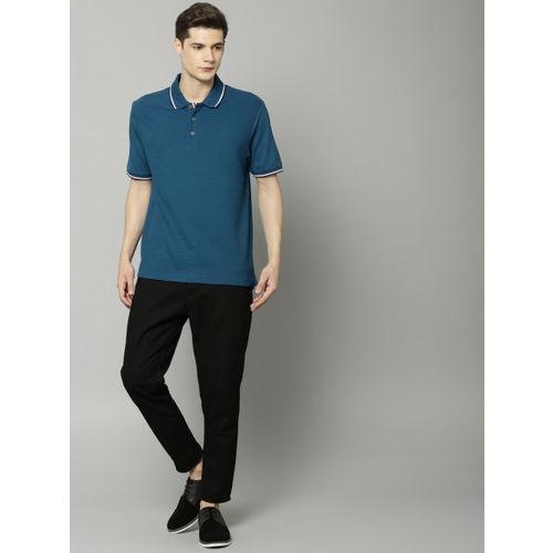 Marks & Spencer Men Teal Blue Striped Polo Collar T-shirt