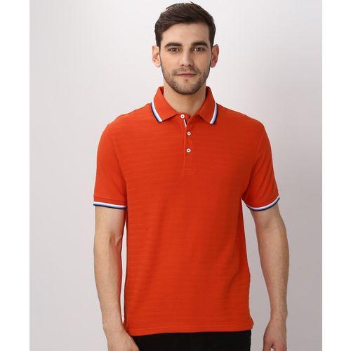 MARKS & SPENCER Self Design Men's Polo Neck Orange T-Shirt