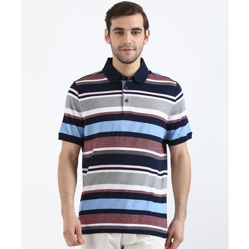 MARKS & SPENCER Striped Men's Polo Neck Multicolor T-Shirt