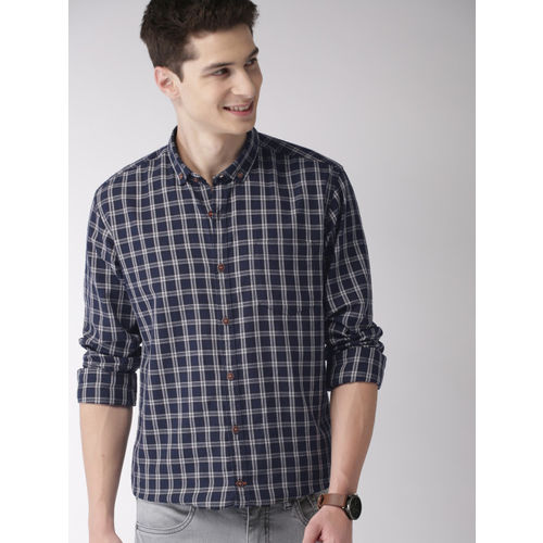 Mast & Harbour Men Navy Blue & Off-White Slim Fit Checked Casual Shirt