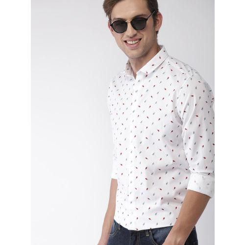 Mast & Harbour Men White Regular Fit Printed Casual Shirt