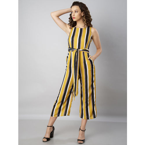 FabAlley Yellow & Black Striped Culotte Jumpsuit