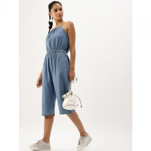 DressBerry Blue Solid Chambray Culotte Jumpsuit