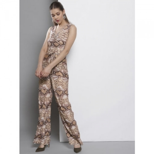 DOROTHY PERKINS Off-White & Brown Animal Print Basic Jumpsuit