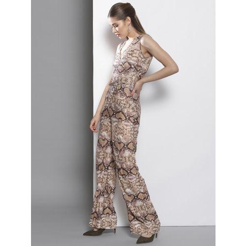 DOROTHY PERKINS Off-White & Brown Animal Print Basic Jumpsuit