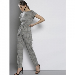 DOROTHY PERKINS Off-White & Black Self-Checked Basic Jumpsuit
