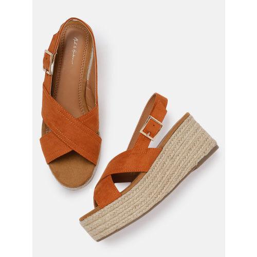 Mast & Harbour Women Orange Solid Sandals
