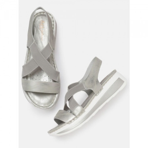 Mast & Harbour Comfort Women Silver-Toned Solid Sandals