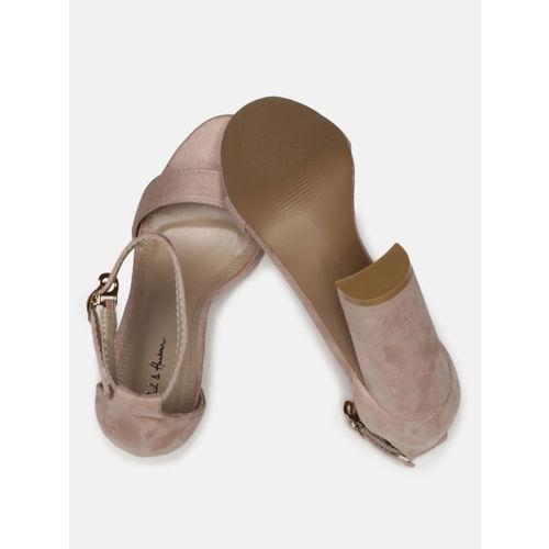Mast & Harbour Women Pink Solid Open-Toe Heels