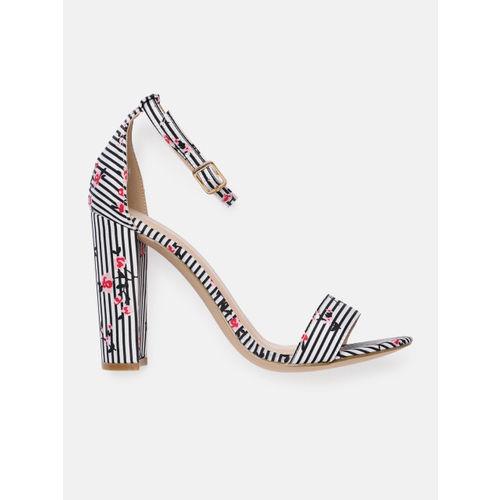 Mast & Harbour Women Black & White Striped Heels