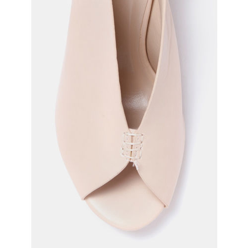 Mast & Harbour Women Peach-Coloured Solid Block Heels