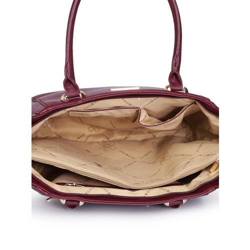 Addons Maroon Embellished Handheld Bag