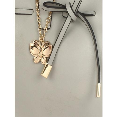 Butterflies Grey Solid Handheld Bag