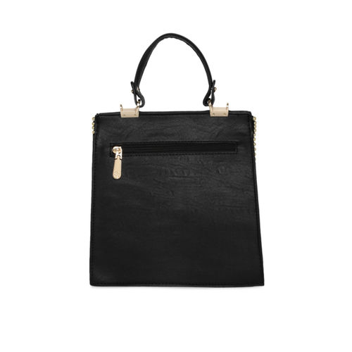 Addons Black PU Synthetic Zip Satchel Bag