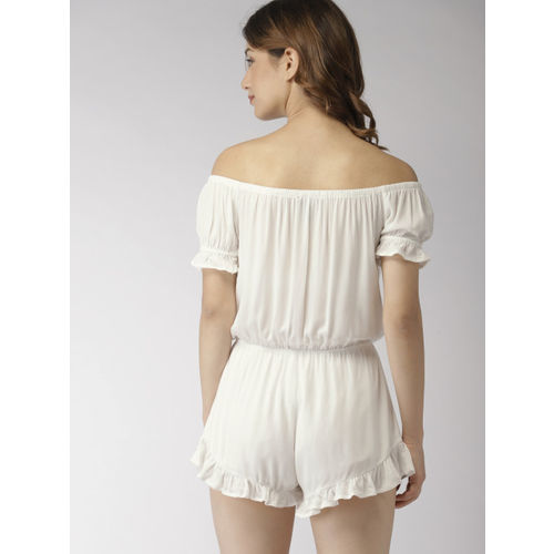 FOREVER 21 Off-White Solid Playsuit