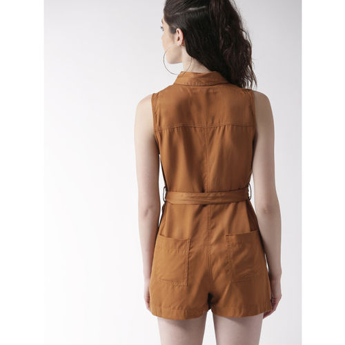FOREVER 21 Brown Solid Playsuit