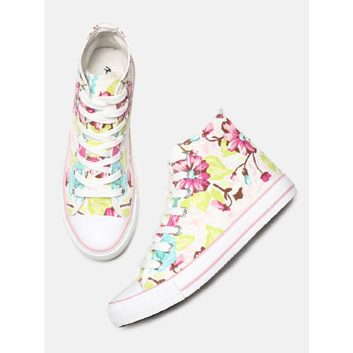 Mast & Harbour Women Multicoloured Printed Canvas Mid-Top Sneakers