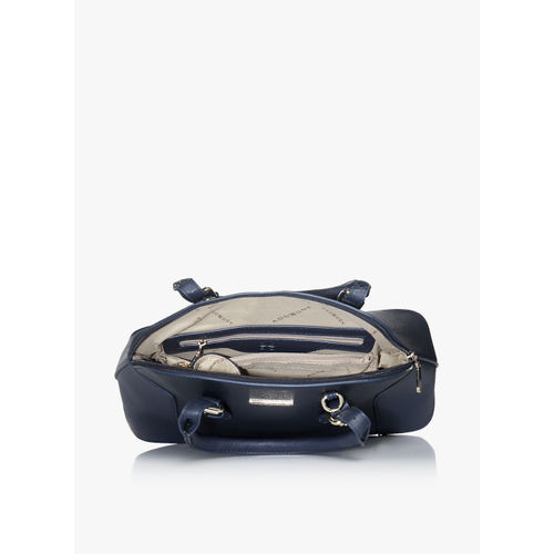 Addons Navy Blue Panelled Satchel Bag