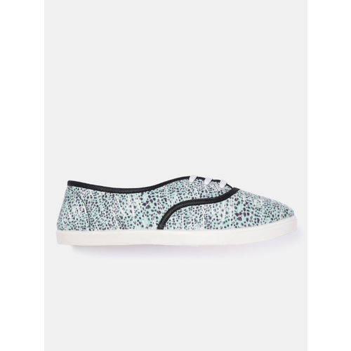 Mast & Harbour Women Mint Green & Charcoal Grey Printed Sneakers