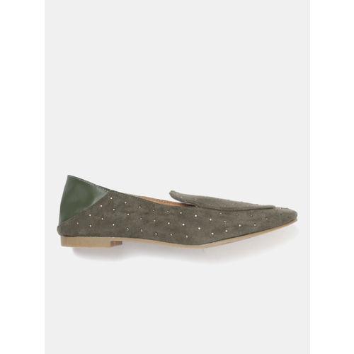 Mast & Harbour Women Olive Green Embellished Slip-Ons
