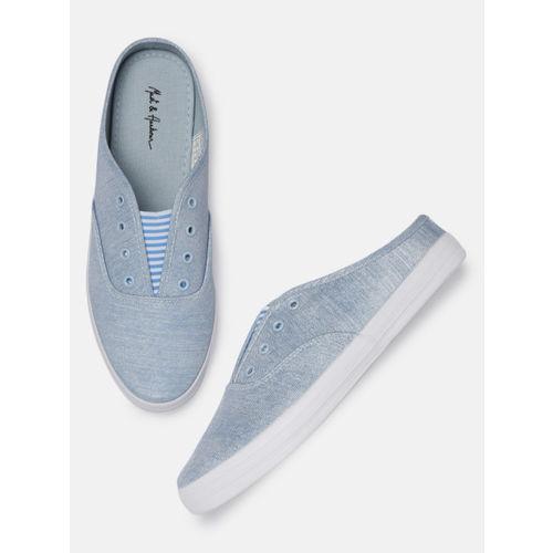 Mast & Harbour Women Blue Slip-On Sneakers