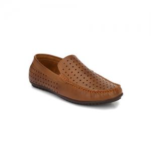 El Paso Men Tan Brown Perforated Loafers