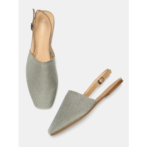 Mast & Harbour Women Gold & Green Solid Mules