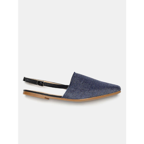 Mast & Harbour Women Navy Blue Solid Mules