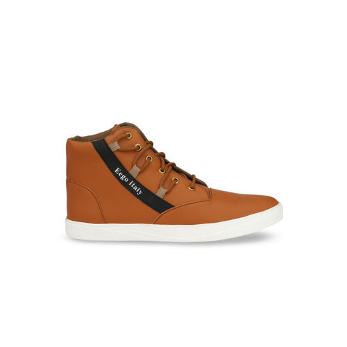 Eego Italy Men Tan Brown Solid Synthetic Mid-Top Sneakers