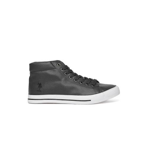 U.S. Polo Assn. Men Jude Grey Solid Mid-Top Sneakers