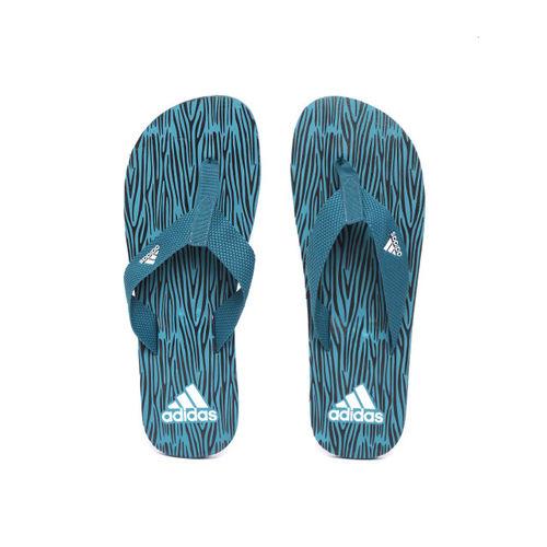 ADIDAS Men Teal Blue Aril Attack 2017 Printed Thong Flip-Flops