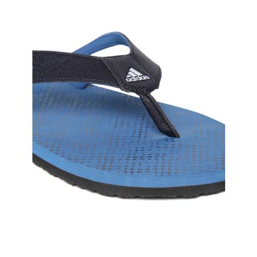 ADIDAS Men Black & Blue OZOR II Printed Thong Flip-Flops
