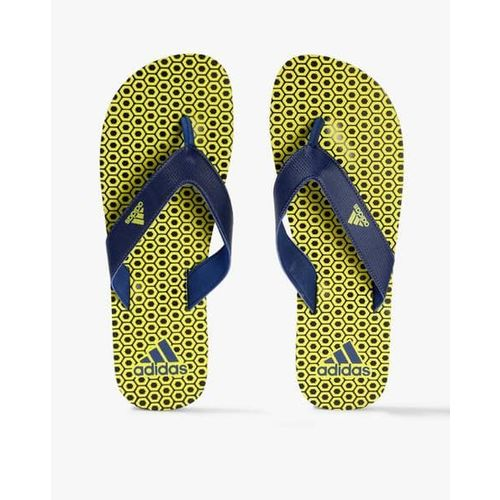 ADIDAS Men Navy & Fluorescent Green Beach Maxout 2 Printed Thong Flip-Flops