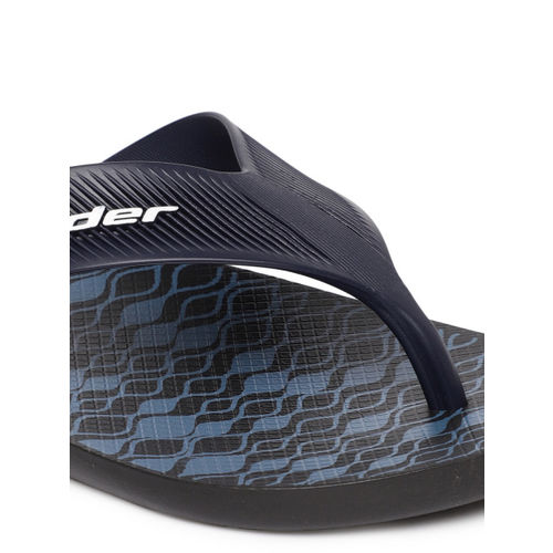 Rider Men Black & Blue Printed Strike Plus Ad Thong Flip-Flops