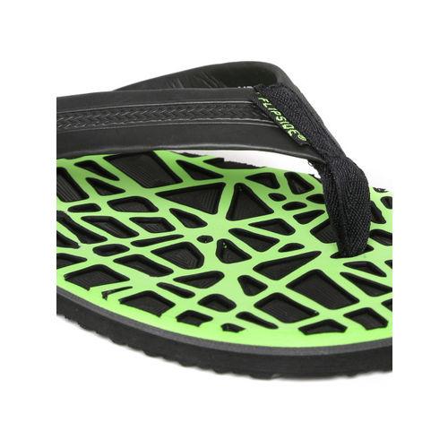 Flipside Men Black & Lime Green Printed Flip-Flops