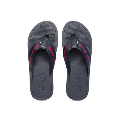 Tommy Hilfiger Men Navy Blue Printed Thong Flip-Flops