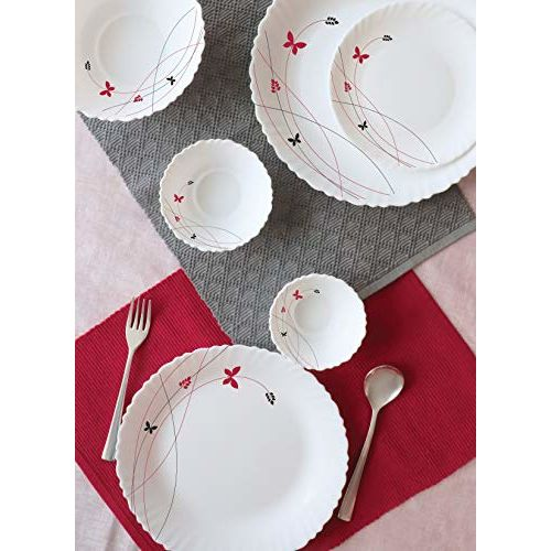 Cello Lush Fiesta Opalware Dinner Set, 18-Pieces, White