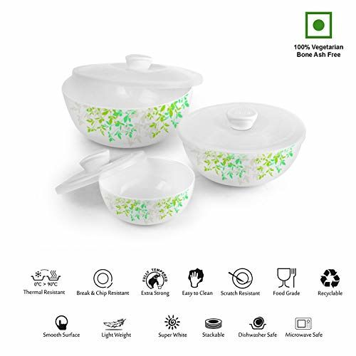 Cello Green Orchard Opalware Mixing Bowls, 3-Piece, White