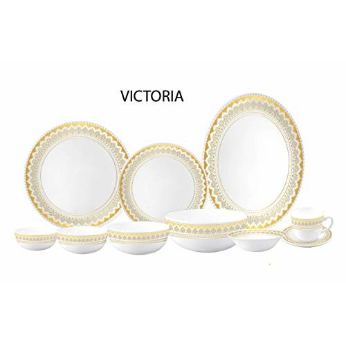 CELLO OPALWARE Royale Collection Victoria Glass Dinner Set, White -27 Pieces