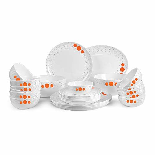 Cello Royal Polka Drops Opalware Dinner Set, 27-Pieces, White