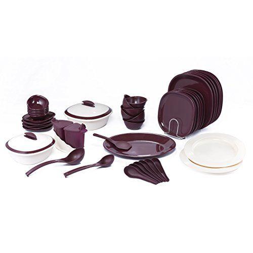 Signoraware Plastic Dinner Set, 51-Pieces, Maroon